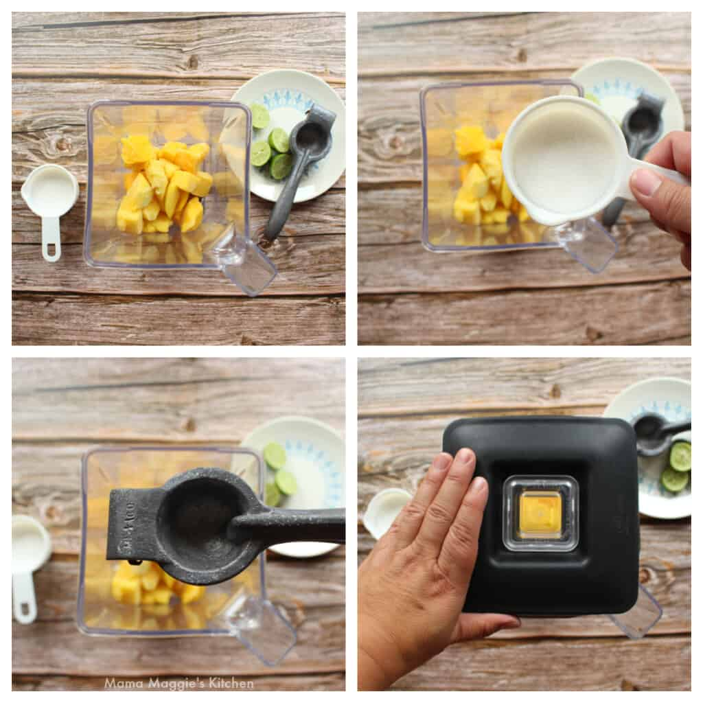A collage showing how to make the mango mixture in a blender.
