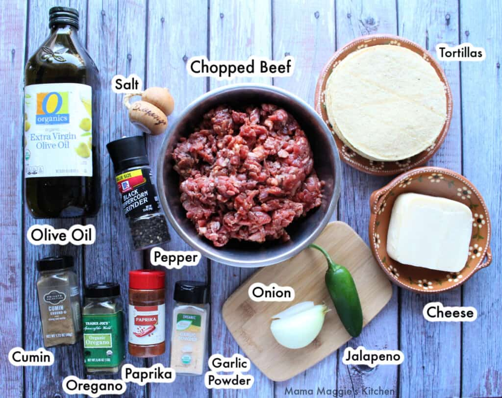 An image showing the ingredients necessary for to make mulitas.