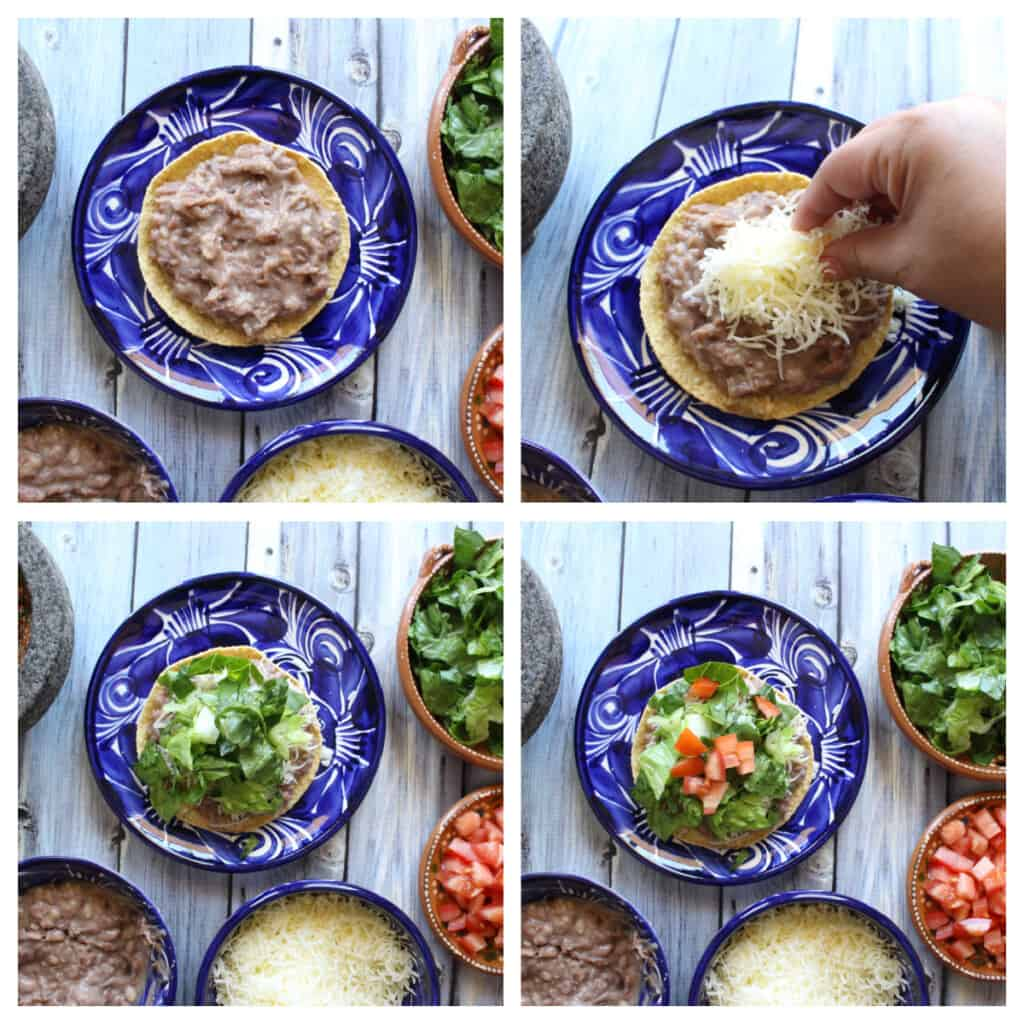 A collage showing how to assemble a bean tostada.