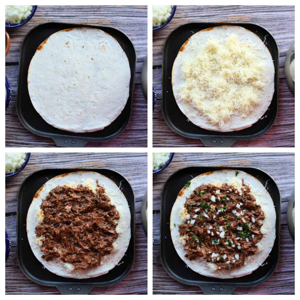 A collage showing how to make the birria quesadillas.