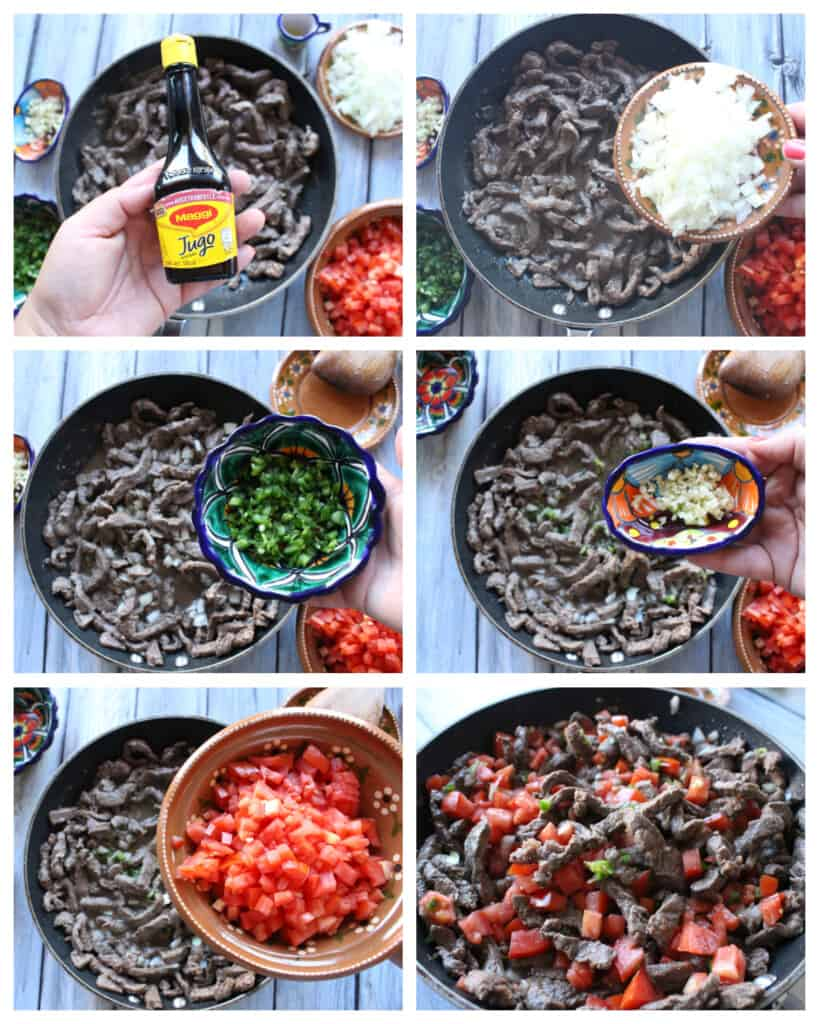 A collage showing how to cook the beef strips.