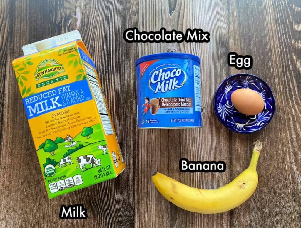 The ingredients needed to make chocomil.
