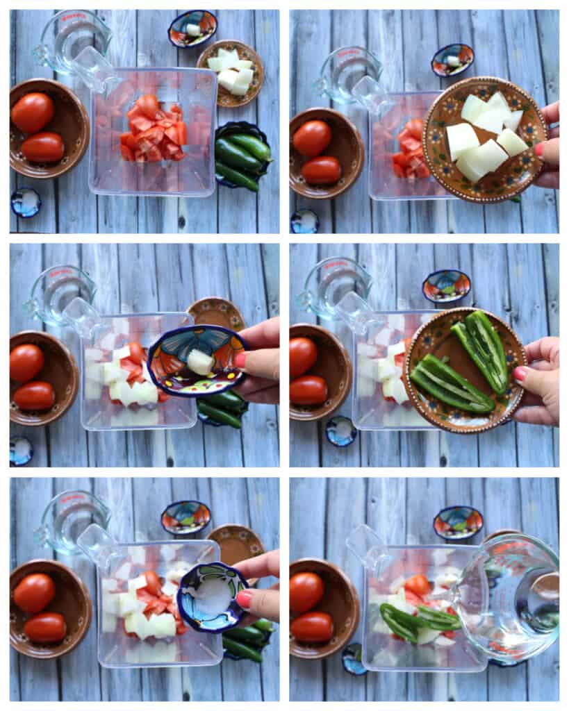 A collage showing how to make the tomato sauce.