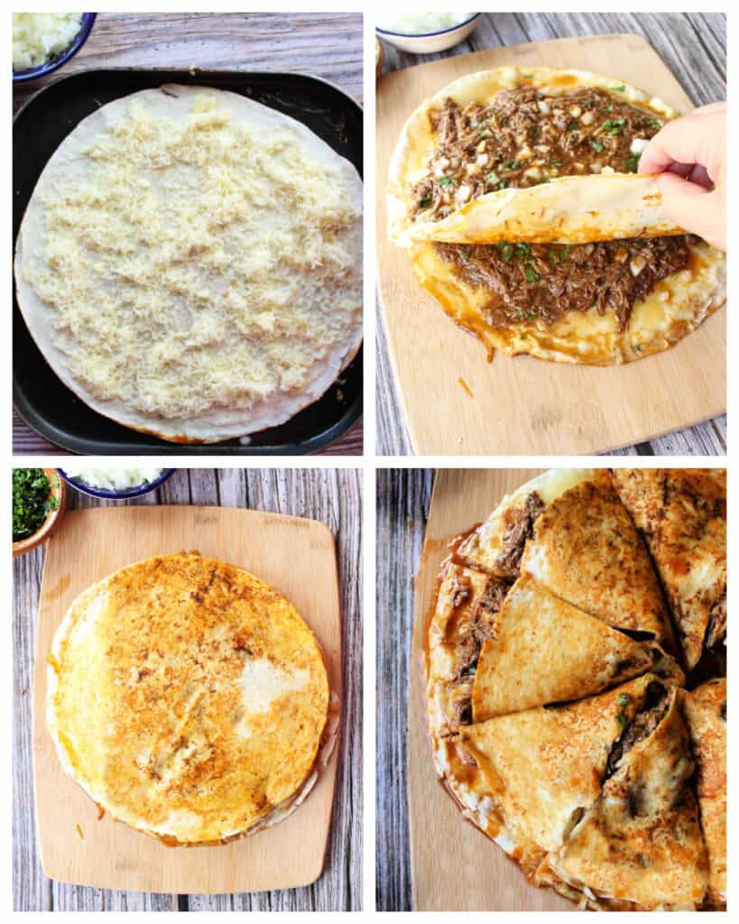 A collage showing how to assemble the birria pizza.