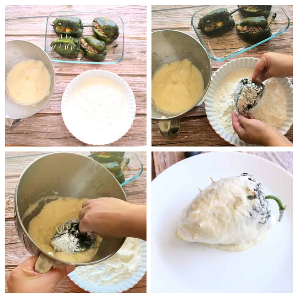 A collage showing how to dip and cover a stuffed poblano pepper in the egg whites.