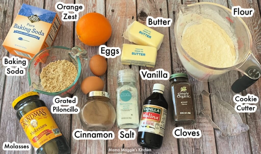 The ingredients needed to make Marranitos Pan Dulce sitting on a wooden table and labeled.