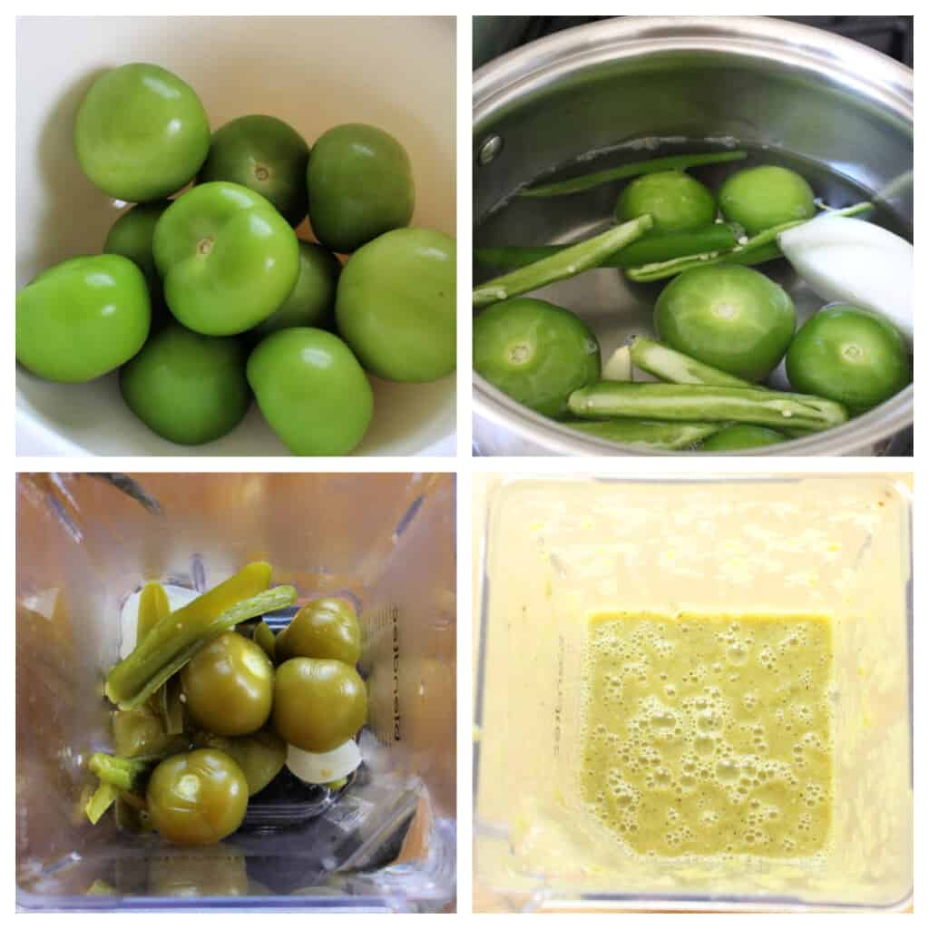 A collage showing how to make salsa verde.