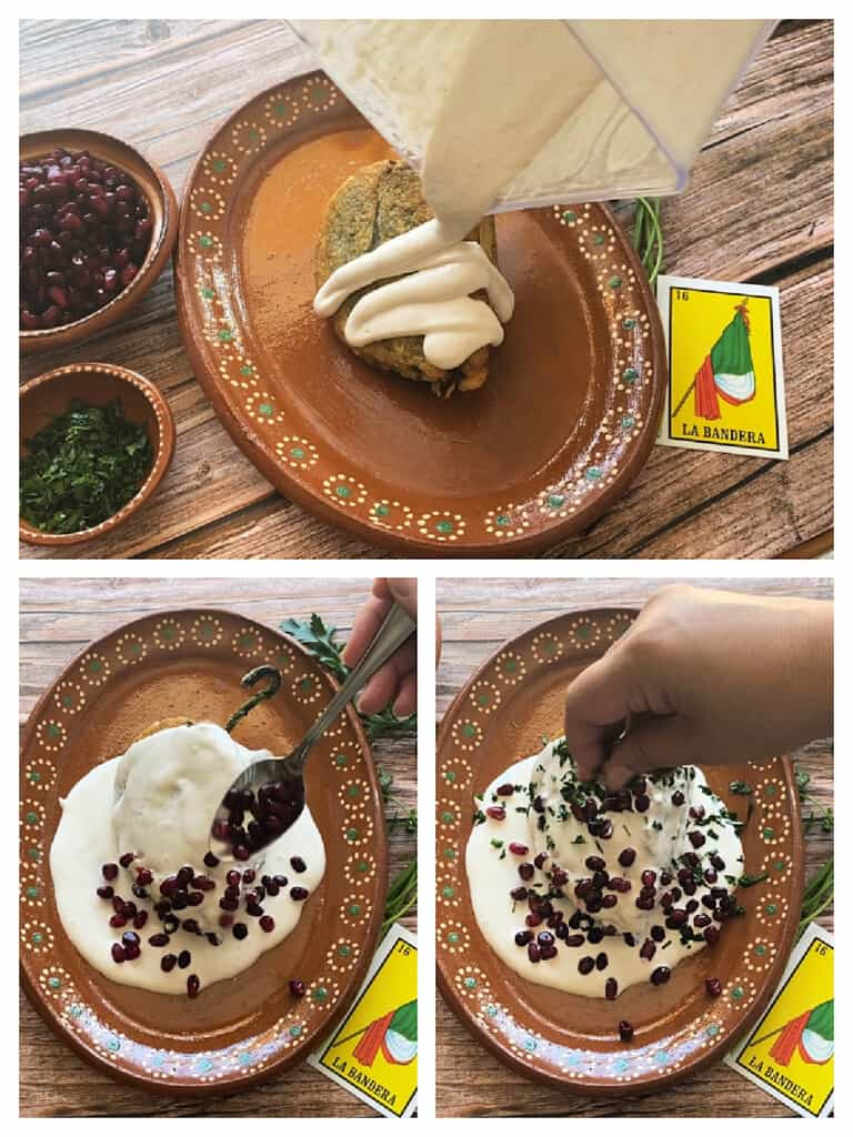 A collage showing how to plate chiles en nogada.