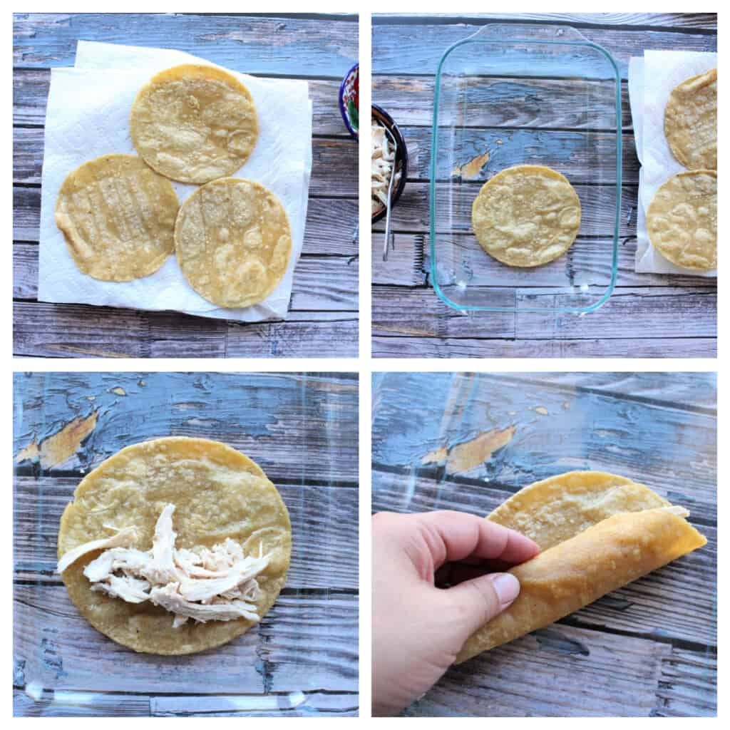A collage showing how to roll the enchiladas.