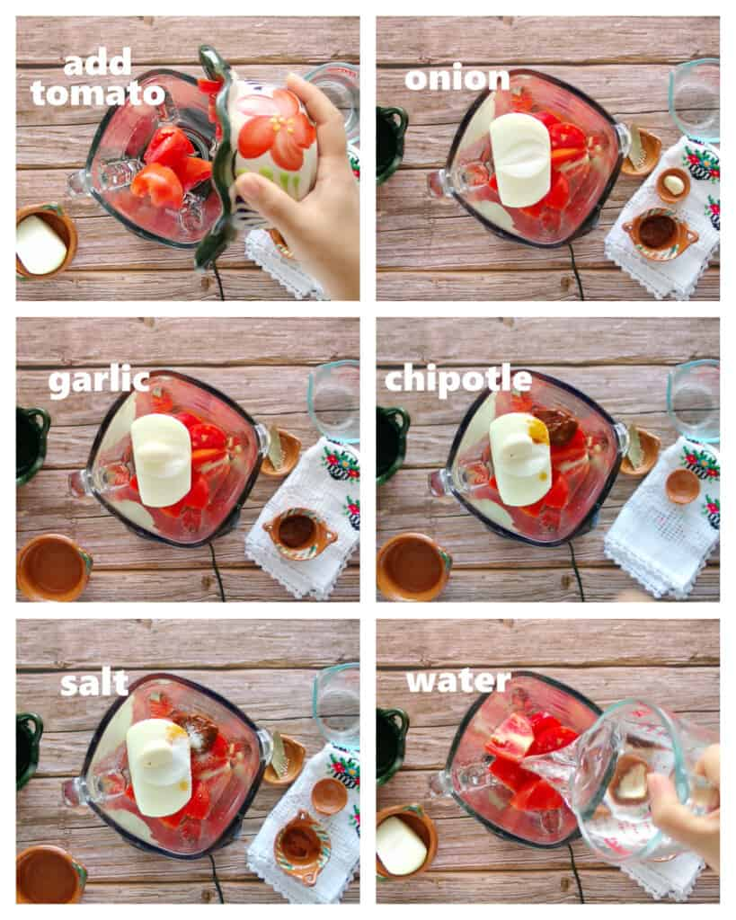 A collage showing how to make a spicy chipotle tomato sauce.