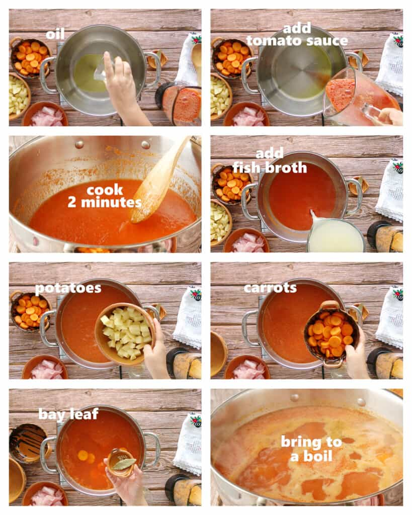 A collage showing how to make Mexican fish soup.